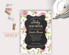 chalkboard pink roses baby shower invitation, girl baby shower invite, floral baby shower, shabby chic party invitation, pink printable diy