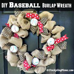 This DIY Baseball Burlap Wreath is perfect for baseball season!