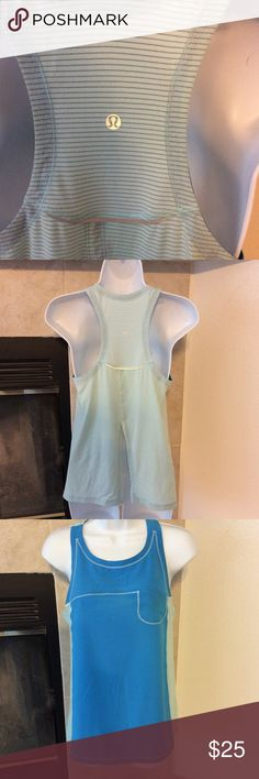 Lululemon Yoga Top Pale blue on the back with gray strips, Bright blue in the from.  Front pocket.  This is an older top and the size dot is not there, size tag has been removed.  Measures 16 inches from armpit to armpit and would be a size 4 per chart.  Cute top lululemon athletica Tops