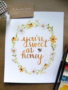 Nursery Art/ Nursery Decor/ Honeybee Art Print/ Sweet as Honey Watercolor- 8x10 by TheHoneyBeePaperie on Etsy https://www.etsy.com/listing/209506042/nursery-art-nursery-decor-honeybee-art