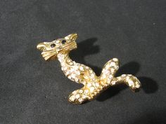 Ladies Cat Perched on Tree Rhinestone Animal Brooch Vintage Ladies Pin Unique Trendy by HipTrends2015 on Etsy