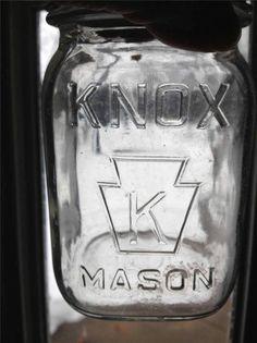 VINTAGE CLEAR GLASS KNOX MASON PINT JAR WITH ZINC LID MILK GLASS LINING