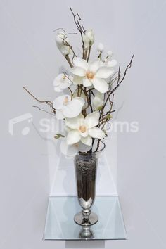Modern Artificial Fresh Touch Ivory Magnolia and White Phalaenopsis Orchid Floral Table Arrangement Home Flower Arrangements, Artificial Floral Arrangements, Artificial Orchids, Corporate Flowers, Phalaenopsis Orchid, Magnolia Flower, Fake Flowers, Floral Centerpieces, Flower Decorations