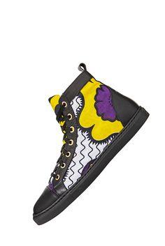 www.cewax.fr aime ces basket de style ethnique afro tendance tribale tissu africain Sneakers african prints ankara You Khanga violet jaune