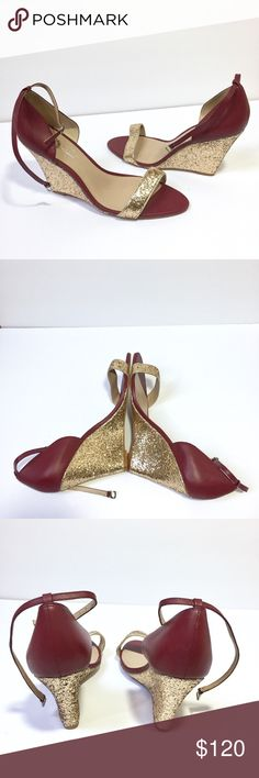 "NWT Shoes of Prey custom gold and maroon wedges - Size: 44 - Material: leather - Condition: NEW - Color: maroon with a hint of purple  - Closure: removable ankle strap, I posted a photo because I'm not sure how it works  - Style: maroon edges with gold sparkly heels, strap toe, and ankle straps - Extra notes: these are CUSTOM, comes with dust bag  *Measurements:  Wedge height: 4.5"" Shoes of Prey Shoes Wedges"