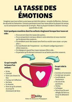 """Tool: an infographic on the children's """"cup of emotions"""" education Source link Childrens Cup, Social Trends, French Language, Positive Attitude, Educational Technology, Kids Education, Coaching, Communication, Parenting"""