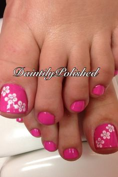 Pink - White - Flowers - Toe Nail Design
