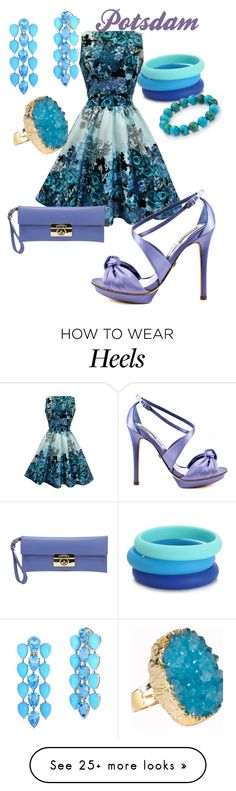 """Potsdam"" by rellenj on Polyvore featuring Salvatore Ferragamo, Badgley Mischka, Chewbeads, Nest and Helix & Felix"