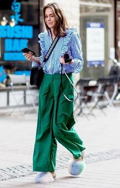 Wide leg emerald green pants, extreme wide leg green trousers, striped button down shirt with ruffles, fur slides, pastel blue fur slides