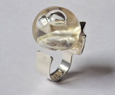 """#forsale > Björn Weckström for Lapponia Jewelry (FI), vintage modernist """"Space Series"""" sterling silver and acrylic oversized Petrified Lake ring, 1973. #finland   finlandjewelry.com"""