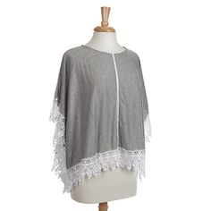 Wholesale gray knit poncho top ivory lace trim Polyester viscose One fits most