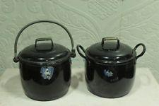 2 Pc Vintage Enamel Ware Black Cooking Pot Kitchenware Home Decor 1667 G BD-75