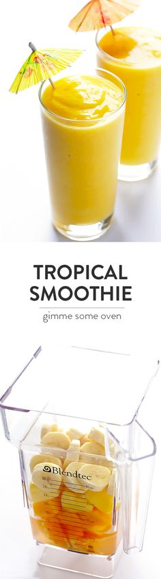 This 5-Ingredient Tropical Smoothie recipe is quick and easy to make, it's naturally sweetened with fruit, and it tastes absolutely delicious! | gimmesomeoven.com
