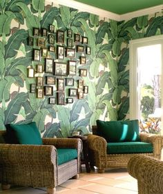 Lush tropical style living with the iconic Beverly Hills banana leaf wallpaper by Hinson.