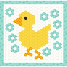 Free duck hexagon babyquilt idea, design by Dorte Rasmussen Denmark