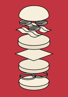 Deconstructed burger Illustration. Freelance graphic designer / illustrator living in London. Looking for work. www.richardkeelingdesign.com