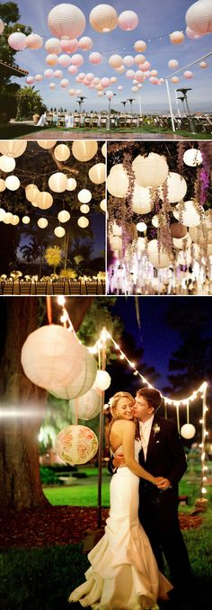 21 Lantern Wedding Decor Ideas - Night Scene- hang our lanterns from a line across tent instead of from ceiling