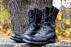 1960's Men's Corcoran Black Leather Army Boots Size 6 E Used -Made in MA, USA #Boots