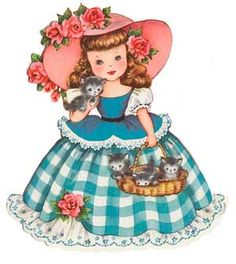 Girl with kittens vintage card