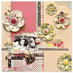 October Afternoon paper layout by Amy Heller. The complete tutorial on making these paper flowers. Paper Flower Tutorial, Paper Flowers Diy, Handmade Flowers, Flower Crafts, Diy Paper, Fabric Flowers, Paper Crafts, Bow Tutorial, October Afternoon