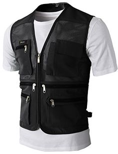 Mens Casual Work Utility Hunting Travels Sports Mesh Vest with Pockets Black US L/Asia XL Work Casual, Men Casual, Jodie Kidd, Cargo Vest, Studded Leather Jacket, Outdoor Outfit, Unique Outfits, Vest Jacket, Zip Ups