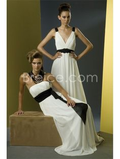 A-line Strapless Floor Length / Long Chiffon Bridesmaid / Wedding Guest Dresses