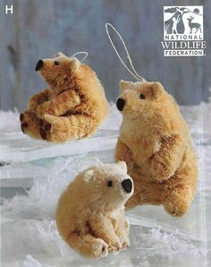 $37.00 Roost Save the Polar Bear Ornaments with NWF Tag - Set Of 3
