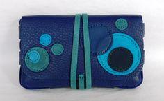 Blague à tabac en cuir grainé couleur bleu gitane : Porte-monnaie, portefeuilles par cuir-de-persac