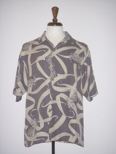 TOMMY BAHAMA Hawaiian SHIRT SILK Gray Pineapple M #TommyBahama #Hawaiian