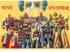 I can't recognize all of them  please help me! :o)    the bigger one is daitarn 3.  the others, left to right (italian names), trider G7, Getter Robot G (aka Jet robot), Getter Robot (aka Jetta Robot), mazinga Z, reideen, daimos, combatter V, great mazin i love robots