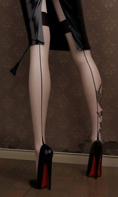 Louboutins & Thigh High Seamed Stockings