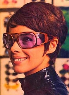 French actress Colette Castel wearing wrapping retro sunglasses #eyewear #lunettes #spectacles #weird - Carefully selected by GORGONIA www.gorgonia.it