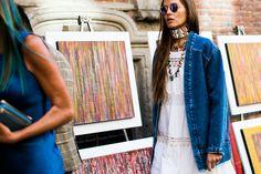 Street style at Fashion Week Spring-Summer 2017 Milan