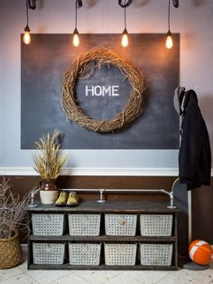 DIY Storage Bench with Rustic + Industrial Style   HGTV >> http://www.hgtv.com/design/make-and-celebrate/handmade/diy-storage-bench-with-rustic-industrial-style?soc=pinterest