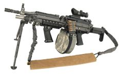 "This is the so-called ""fully improved"" U.S. M249 5.56mm light machine gun (2010), an American-made adaptation of the FN Minimi manufactured by the Belgian company FN Herstal. The M249 is widely used in the U.S. Armed Forces and provides infantry squads with the heavy volume of fire of a machine gun combined with accuracy and portability approaching that of a rifle."