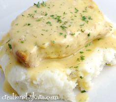 Ranch Pork Chops over Garlic MAshed Potatoes in the Crock Pot!
