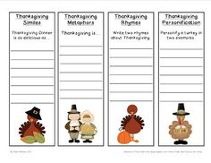 Addie Education - Teacher Talk: Thanksgiving Poetry Bookmarks