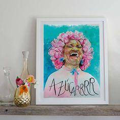 Celia Cruz, por Larraitz con Pompa #arte #ilustración #diseño #decoración #ideas #inspiración #láminas #CeliaCruz