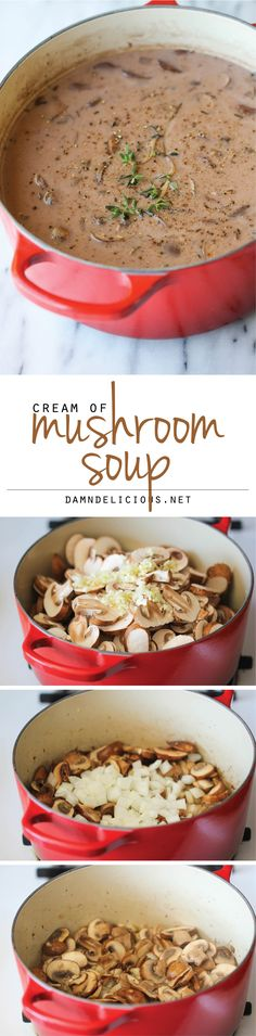 Homemade Cream of Mushroom Soup - The creamiest mushroom soup that tastes like the canned stuff but it's healthier, creamier and tastier! You'll want to put this copycat soup recipe in everything!
