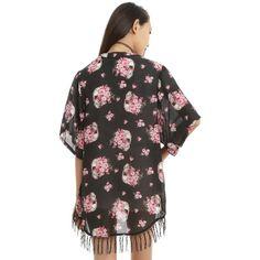 586b5c200c Black Skull Floral Fringe Kimono Hot Topic ( 19) ❤ liked on Polyvore  featuring intimates