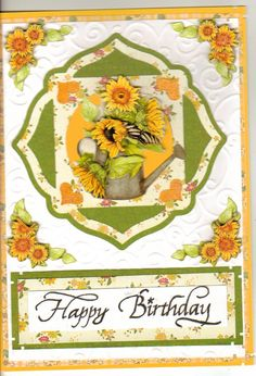 Yellow card & White cardstock by Recollections, Sunflower sticker by Special Moment's (Dollar Tree) Cricut Elegant Edges Cartridge, green print and yellow floral printed paper by Paper Crates, Happy Birthday Stamp bought sometime ago.