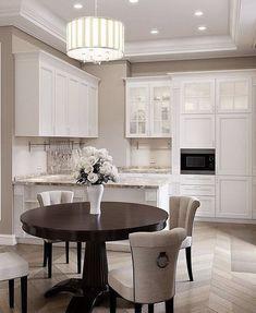 Wooden Flooring, Kitchen Flooring, Kitchen Backsplash, Chair Redo, Chair Makeover, Country Kitchen, New Kitchen, Kitchen Ideas, White Kitchen Cabinets