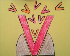 Letter of the Week - V is for Volcano craft and PRINTABLE TEMPLATE!! Great for toddlers, preschool, pre-k, or kindergarten to practice letter sounds, phonics, fine motor skills, cutting and coloring! Cute letter craft!