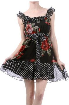 Black polka dot and rose ruffle sundress  find here: http://stores.ebay.com/The-Stylish-Boutique/_i.html?_nkw=black+purple+knee+dress=Search&_sid=544253133