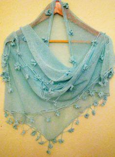 gorgeous knitted  shawl Summer Scarf  Beach shawl by WoolMagicShop