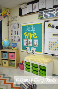 i love this classroom.super use of space and really cute. love the bench & bins what a week (with a little classroom tour!) - love the font for daily five and the teal and yellow scheme Classroom Layout, Classroom Organisation, Teacher Organization, Classroom Design, Classroom Themes, Classroom Management, Classroom Color Scheme, Classroom Pictures, Organizing