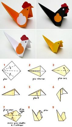 origami - pliage papier poule - cocotte