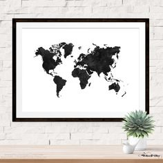 World Map in Black Watercolor on White Art Print in choice of sizes. Frame not included.  ♥ PRINT DETAILS ♥ ♥ Paper: Professional, High-Quality,
