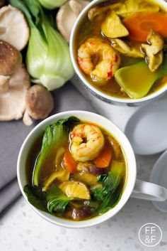 Packed full of delicious and healthy ingredients like turmeric, bok choy and shrimp for a healthy gluten free soup recipe. Seafood Recipes, Paleo Recipes, Asian Recipes, Soup Recipes, Cooking Recipes, Ethnic Recipes, Chinese Recipes, Delicious Recipes, Free Recipes
