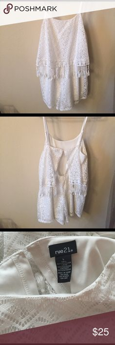 Rue 21 dress Cute all white lace jumper. Open detail on back and fringe detail on top portion. Only worn once! Rue 21 Dresses